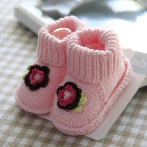 Meia / sapatinho de lã rosa bebê