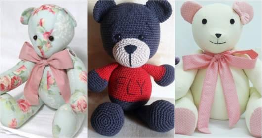 Os ursinhos podem ser feitos de tricô e crochê