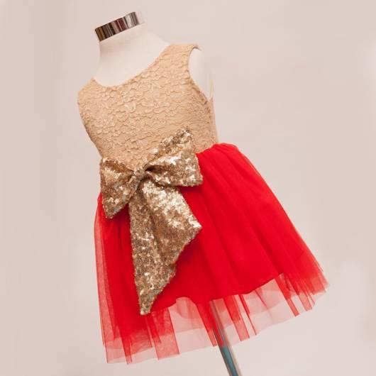 vestido para festa vermelho e dourado