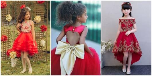 modelos de vestidos vermelho e dourado