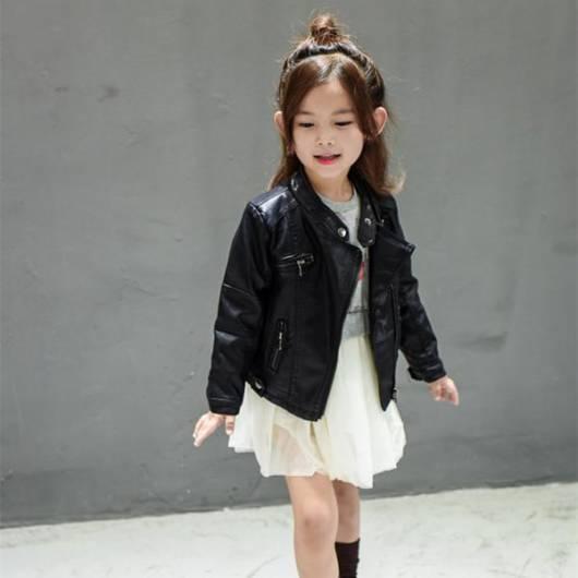 Jaqueta de couro infantil feminina