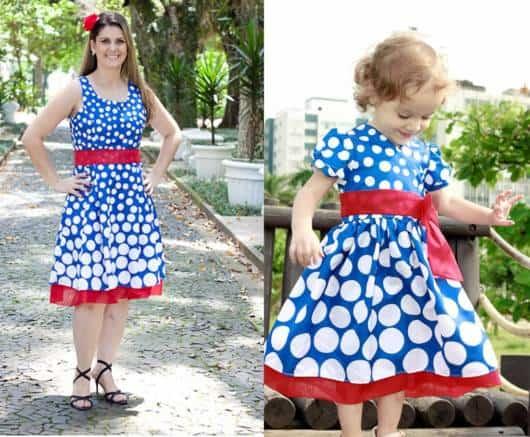 vestido rodado mãe e filha