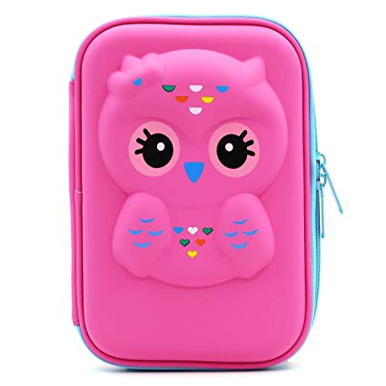 Estojo escolar feminino: corujinha rosa