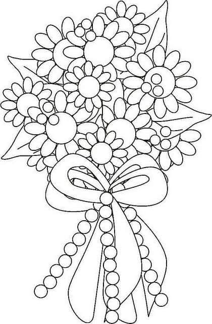 Flores para colorir: buquê de flores