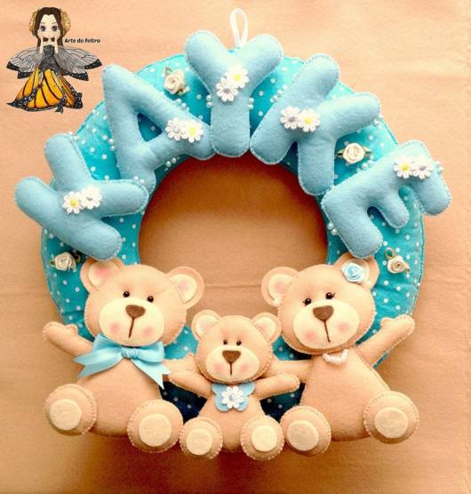 Guirlanda de feltro: urso azul