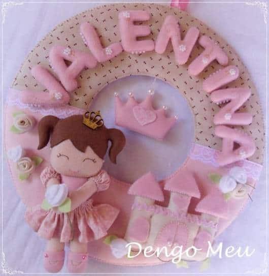 Guirlanda de feltro: princesa rosa