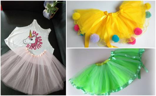 Modelos de saias feitas com tule colorido