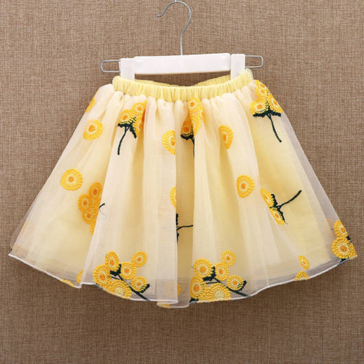 saia amarela bordada com forro