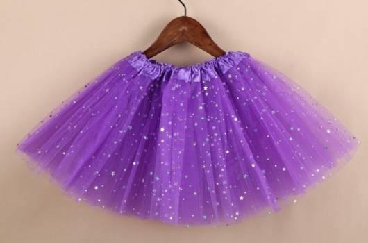 Sugestão de saia lilás com glitter