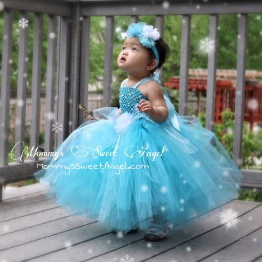 Vestido da frozen: baby com tule