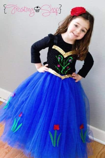 Vestido da frozen: vestido da Ana longo rodado