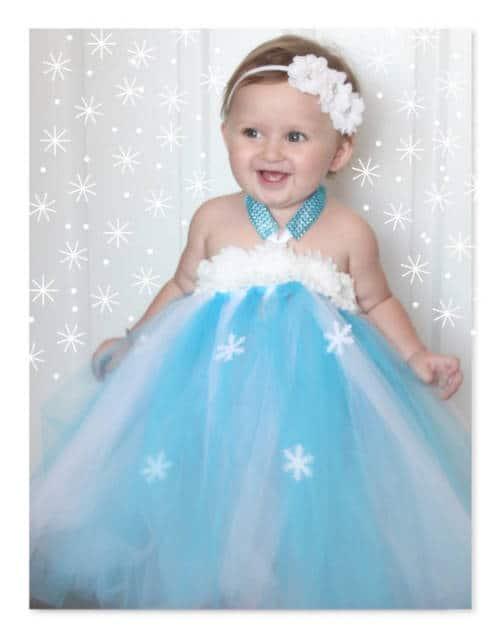 Vestido da frozen: baby com amarração no pescço