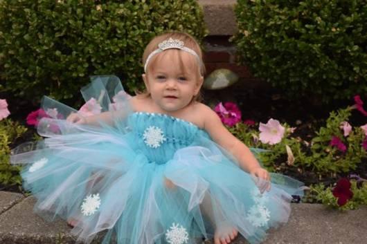 Vestido da frozen: baby com tiara
