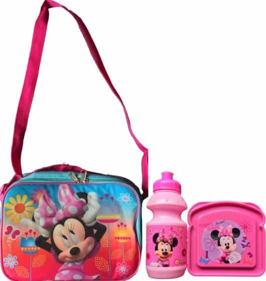 Lancheira infantil feminina: Minnie com garrafinha