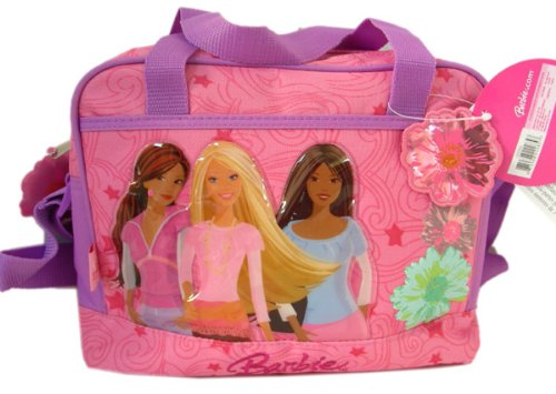 Lancheira infantil feminina: Barbie com alça roxa