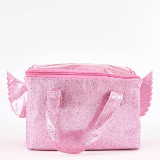 Lancheira infantil feminina: rosa com asas