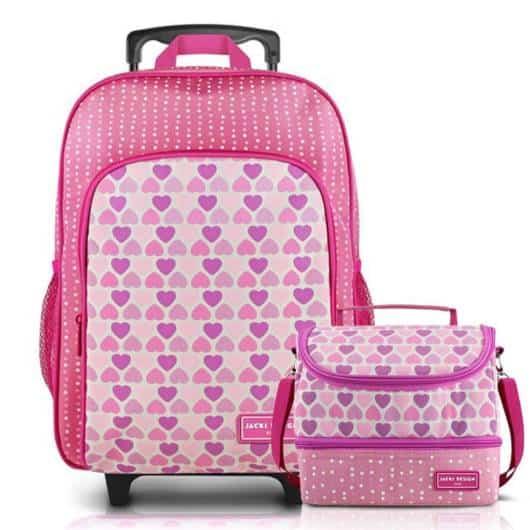 Lancheira infantil feminina: mochila com lancheira rosa