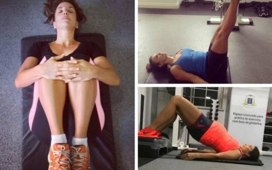 Ivete Sangalo em diversas posições de pilates na gestação