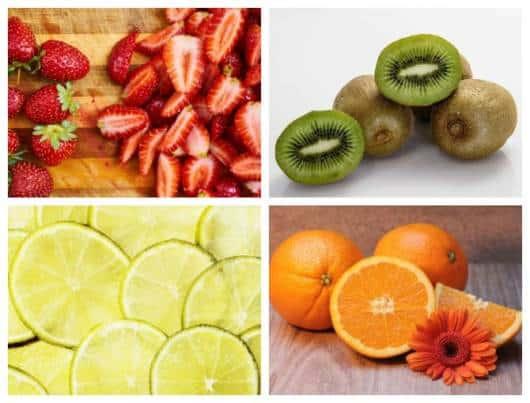 Montagem com frutas que não devem ser consumidas por crianças pequenas.