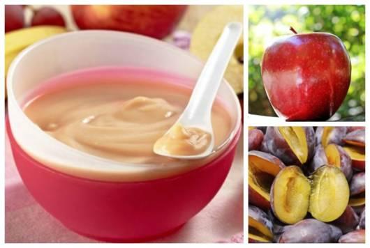 Montagem com frutas para bebês que podem ser usadas em papinhas.