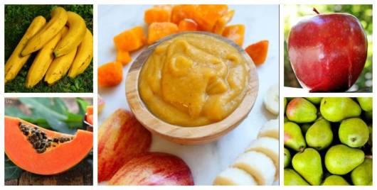 Montagem com frutas para bebês.