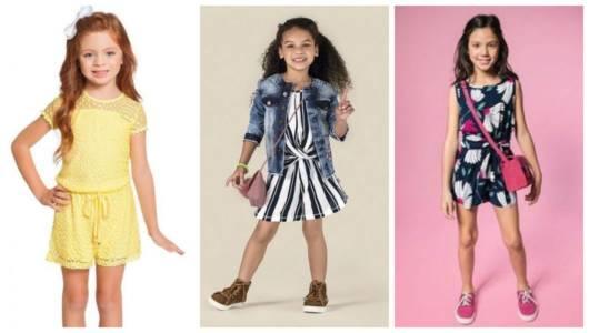 Montagem com fotos de três meninas usando macacão infantil.