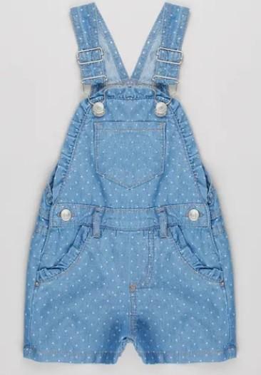 Macacão infantil feminino jeans.