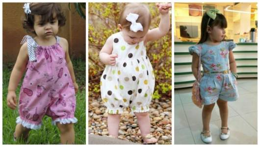 Montagem com fotos de crianças usando macacão.