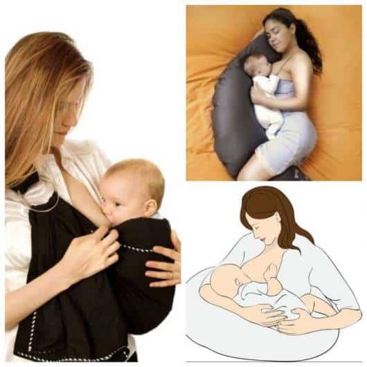 Montagem com exemplos de acessórios que podem ser usados na hora da amamentação.