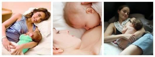 Montagem com fotos de mulheres amamentando deitadas.