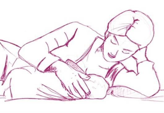 Desenho de mulher amamentando deitada.