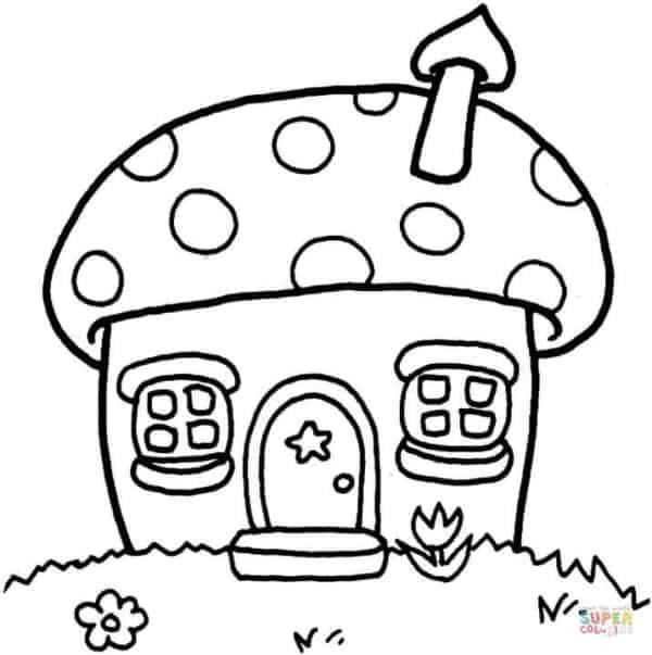 casa de cogumelos para colorir