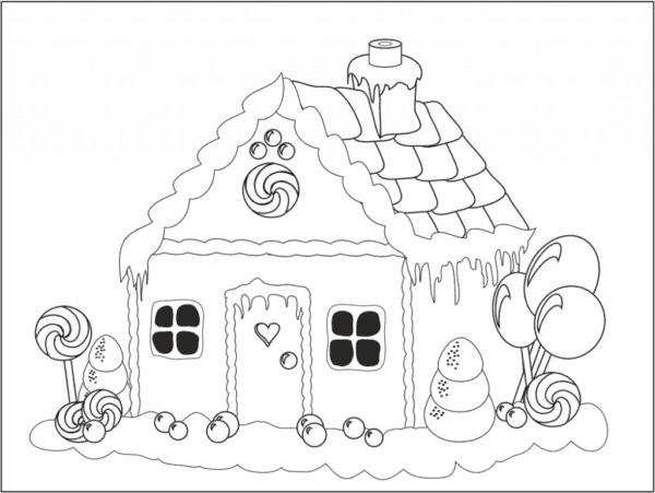 casa de doces para colorir
