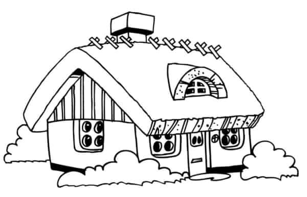 casa pequena para colorir