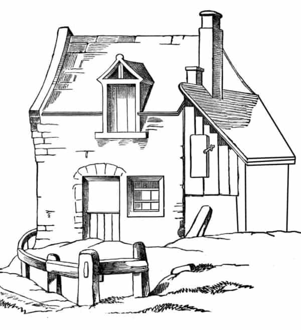 casa rústica para colorir