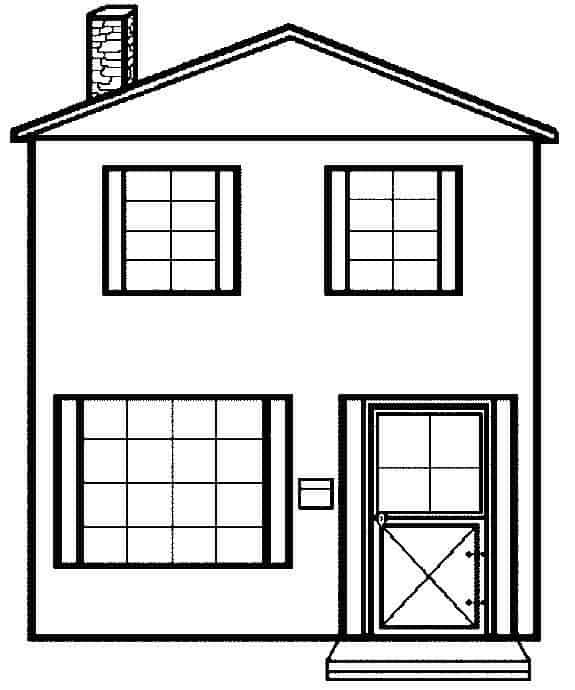 casa simples para colorir