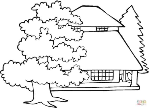 desenho de casa com árvores
