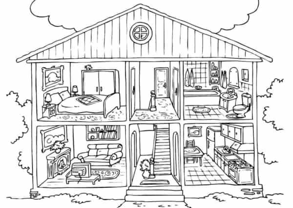 desenho de casa por dentro para colorir