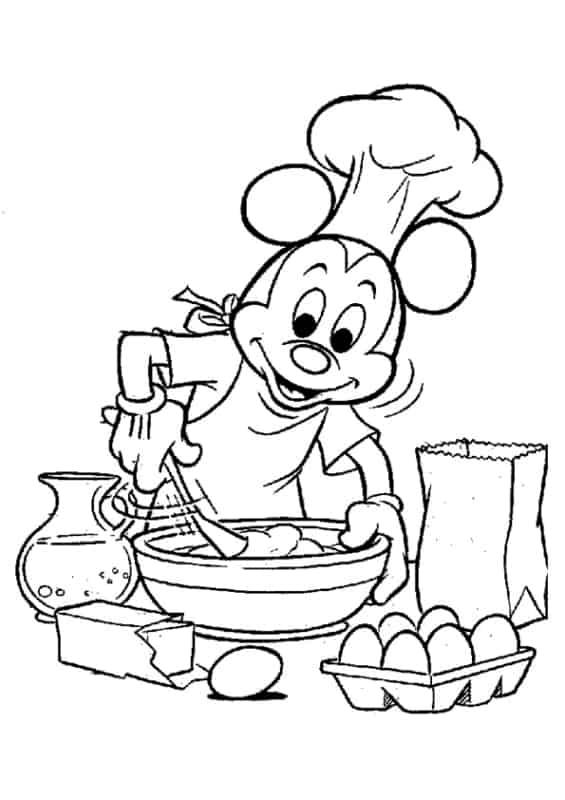 desenho do mickey cozinheiro