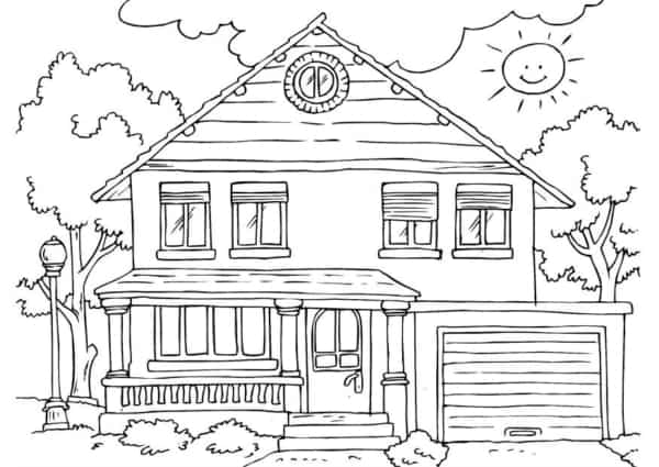 linda casa grande para colorir