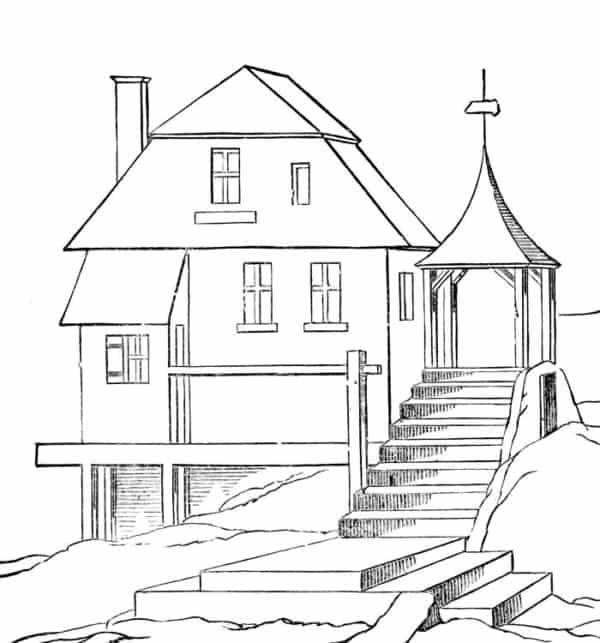 linda casa para colorir