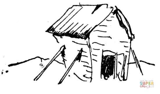 pequena cabana para colorir