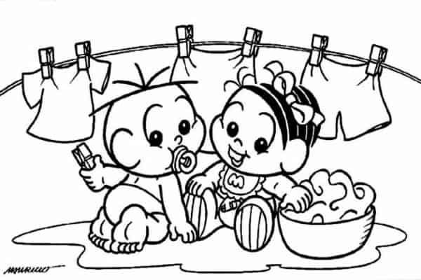 mônica e cebolinha bebê para colorir