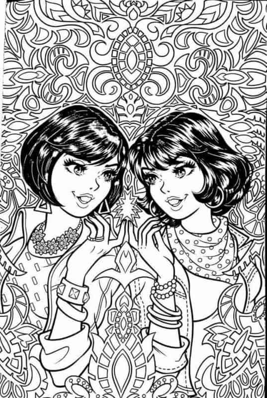 Mônica e Magali jovens para pintar