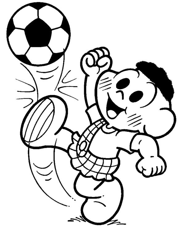 cascão jogando bola para pintar