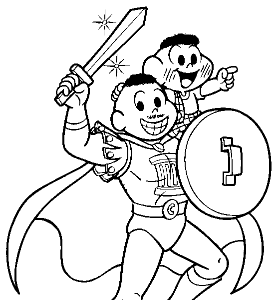 cascão com pai para colorir