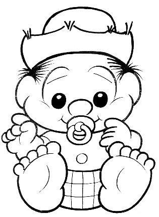 chico bento bebê para colorir