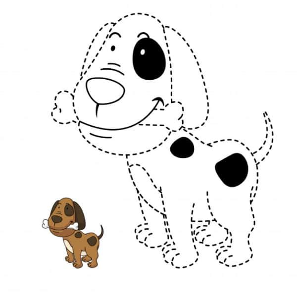 Cachorro com modelo para colorir