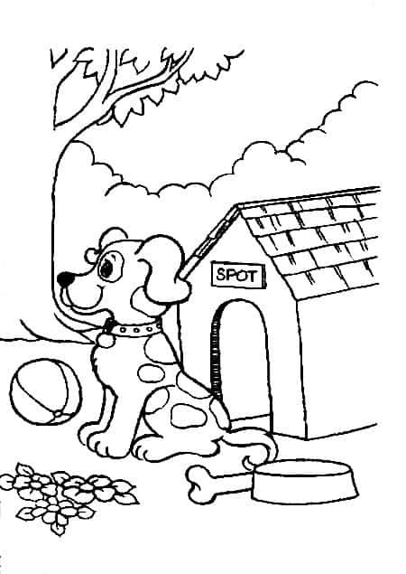 Cachorro na casinha para colorir