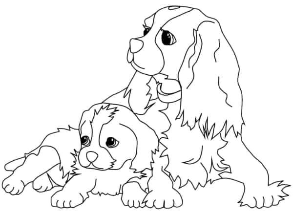 Cadela e seu filhote para imprimir e colorir